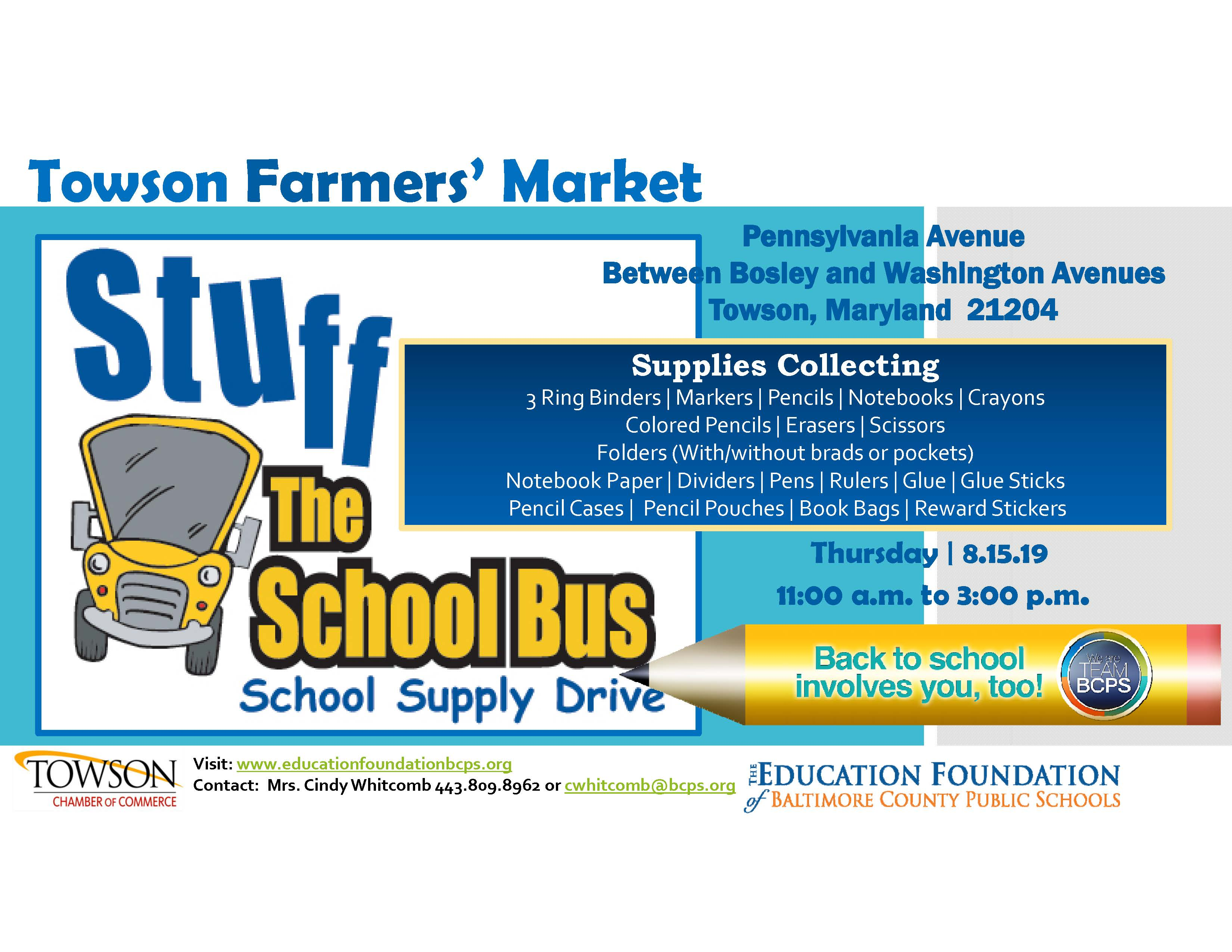 Towson Calendar.Stuff The Bus Towson Farmers Market Education Foundation Bcps