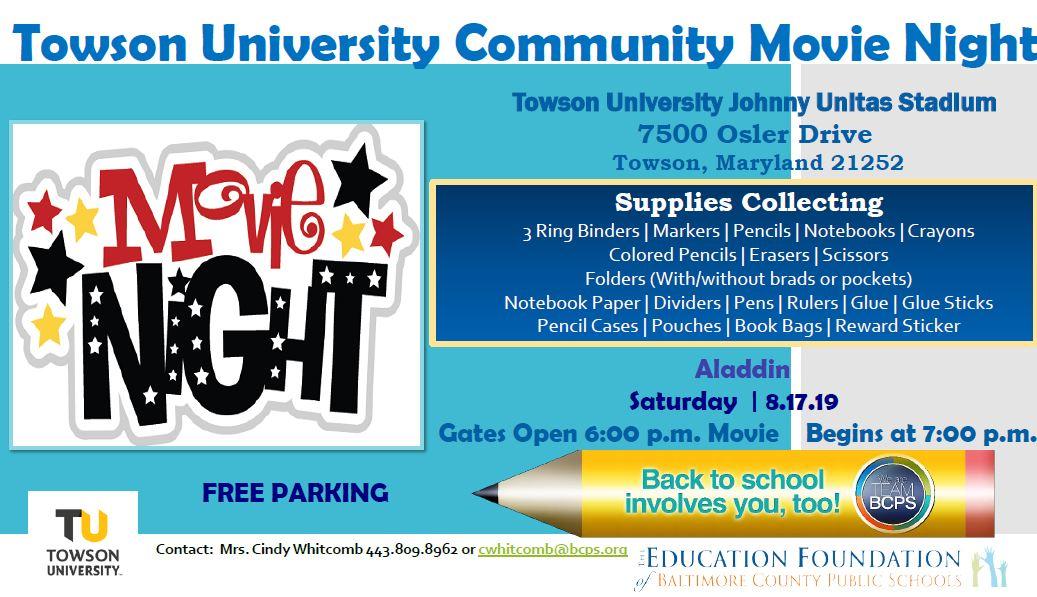 Towson Calendar.Movie Night Towson Univeristy Education Foundation Bcps